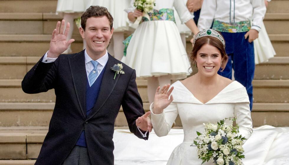 BRYLLUPSDAG: Prinsesse Eugenie og ektemannen Jack Brooksbank på bryllupsdagen i 2018. Foto: Steve Parsons/ Reuters/ NTB