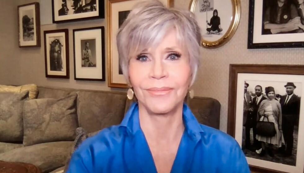 PENSJONERT: Selv om Jane Fonda fortsatt jobber aktivt, har hun bestemt seg for å legge sexlivet på hylla. Her er hun fotografert tidligere i oktober. Foto: TED / AFP, NTB