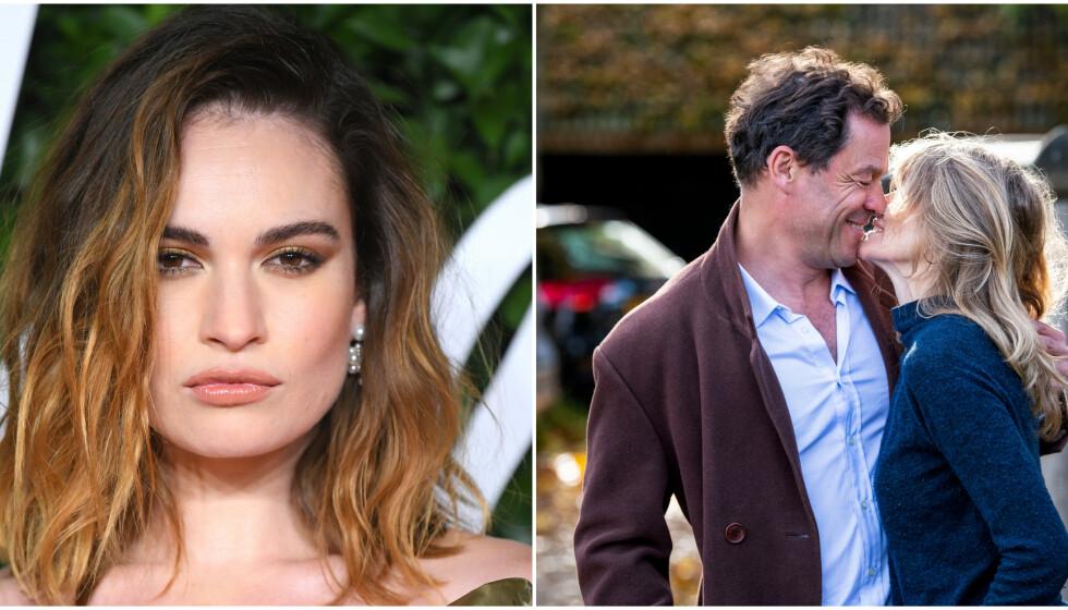 RYKTER: Denne helga ble Dominic West observert mens han kysset skuespilleren Lily James. Nå «svarer» han med nye bilder sammen med kona, til full forvirring. Foto: David Fisher / Shutterstock / MIKE / Splash News / NTB