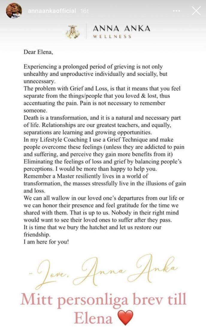 <strong>ÅPENT BREV:</strong> Anna Anka valgte å publisere et brev, skrevet til Elena, på sin Instagram. Foto: Skjermdump Instagram