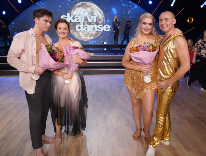 <strong>OVER OG UT:</strong> Siri og Tarjei og Bjørn og Agnete ble de to danseparene som måtte reise hjem. Foto: Espen Solli / TV 2