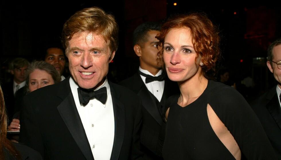I SORG: Hollywood-stjernen Robert Redford sørger over tapet av sønnen James Redford. Her er han avbildet sammen med Julia Roberts i 2002. Foto: Shutterstock Editorial / REX / NTB