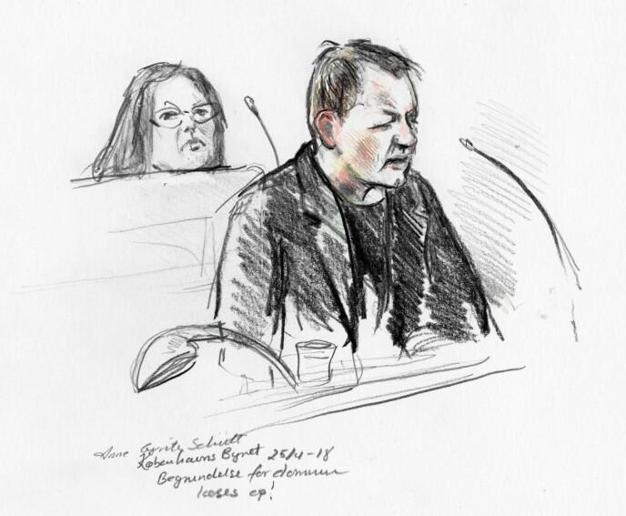 RETTSSAKEN: Peter Madsen forklarer seg i retten i 2018. Rettstegning av Anne Gyrite Schütt. Foto: AFP/Ritzau/NTB