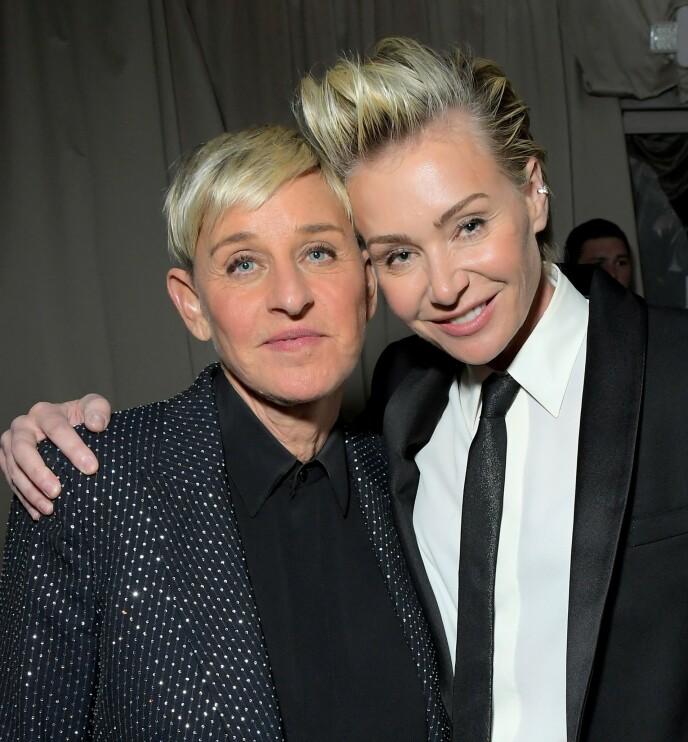 LIKT?: På Instagram mener noen at DeGeneres' sveis er til forveksling lik konas. Her er de sammen i januar i år. Foto: Charley Gallay / AFP / NTB