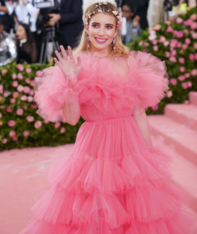 PRIVAT: Hollywood-stjerna Emma Roberts er kjent for å verne godt om privatlivet sitt. Her avbildet under Met-gallaen i fjor. Foto: Elaine Wells / Pa Photos / NTB