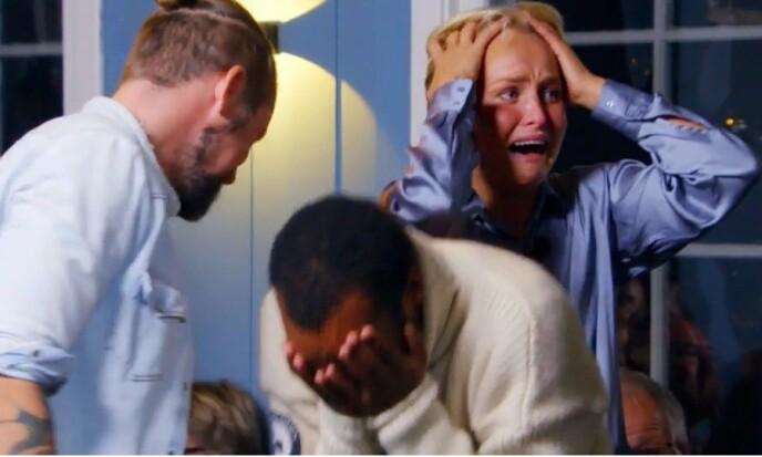I SJOKK: Levi Try og Øyunn Krogh vant «Sommerhytta», og kan dermed kalle seg hytteeiere. Foto: TV 2