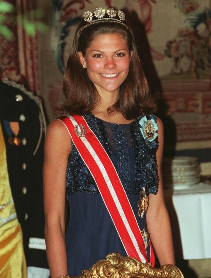 SYK: Kronprinsesse Victoria hadde alvorlige spiseforstyrrelser. Det er nå 23 år siden. Her er hun avbildet på Grand Hotel i 1997. Foto: Toni Sica / Pressens Bild / NTB