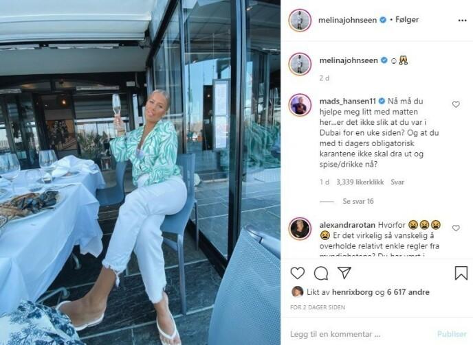 REFSES FOR DETTE: Melina Johnsen hevder at hun var i karantene, til tross for at hun la ut et bilde på Instagram fra en restaurant. Foto: Skjermdump/Instagram