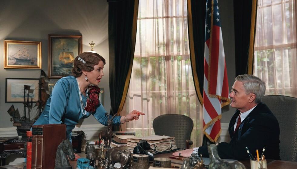 DRAMASERIEPAR: Skuespillere Kyle MacLachlan som Franklin D. Roosevelt og Sofia Helin som kronpinsesse Märtha i «Atlantic Crossing». Foto: Cinenord / NRK / NTB