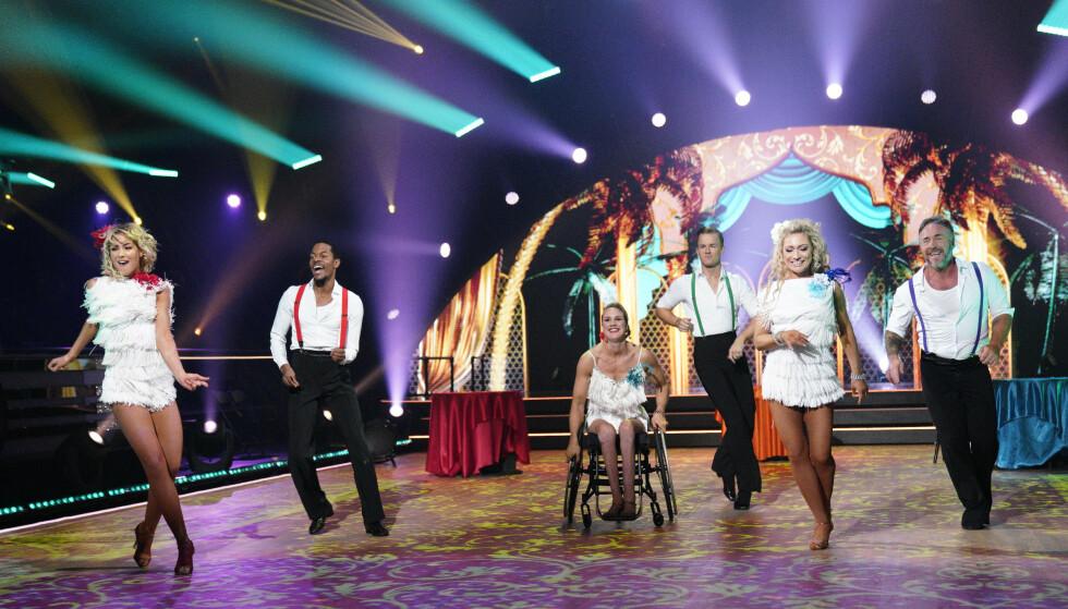 FULL POTT: Gruppedansen til Skarstein, Andreassen og Kahungu fikk hele 40 poeng av dommerne. Foto: Espen Solli / TV 2