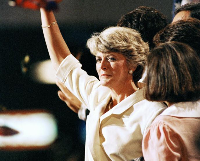DEN GANG DA: Geraldine Ferraro iført hvitt i juli 1984. Foto: AP/ NTB