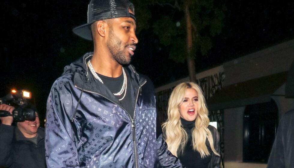 TURBULENT FORHOLD: Khloé Kardashian og Tristan Thompson avbildet i januar 2019, en knapp måned før utroskapsskandalen brøt løs. Foto: REX/NTB