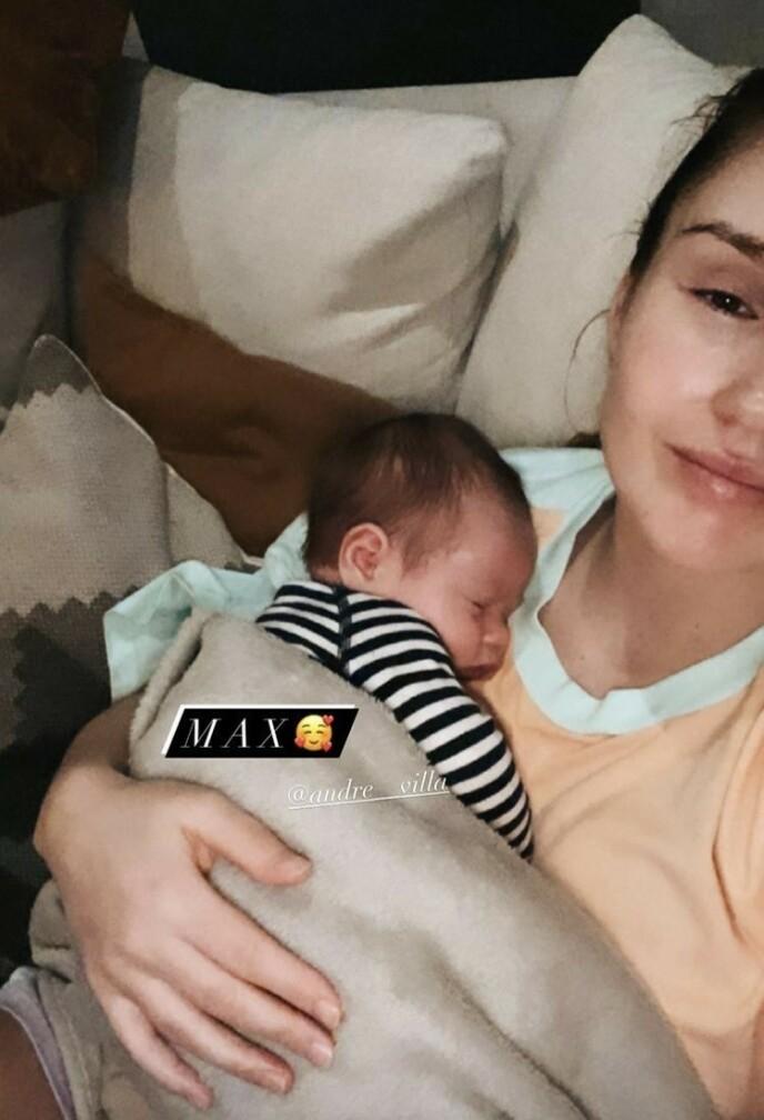 Max: Rachel Nordham avslørte sønnens navn på Instagram søndag.  Foto: Skjermbilde fra Instagram