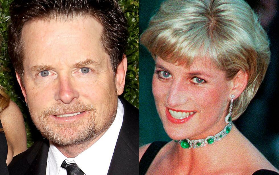 MØTTES: Skuespiller Michael J. Fox ble svett i trøya da han skulle sitte ved siden av prinsesse Diana under filmpremieren til «Tilbake til fremtiden». - Det var smertefullt. Det kunne ha vært en av de beste kveldene i livet mitt, men det var et mareritt, skriver han i selvbiografien. Foto: Angels Weiss/NTB