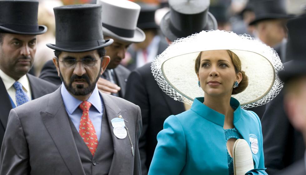 FLYKTET: Prinsesse Haya av Jordan skal ha vært redd for sin egen ektemann da han fant ut at hun hadde vært utro. Her er de avbildet i 2009. Foto: Rupert Hartley/David Hartley/REX/NTB