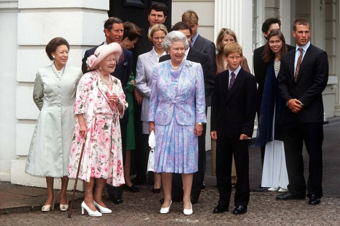 NO COMMENTS: The British royal family never commented on the two sisters.  Here they gathered for the Queen Mother's 97th Anniversary in 1997.Photo: Rex / Shutterstock / NTB