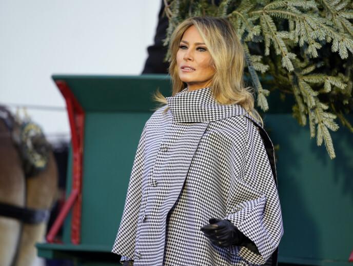 VISTE SEG: Førstedame Melania Trump dukket opp utenfor Det hvite hus mandag i forbindelse med at årets juletre ankom den amerikanske presidentens embedsbolig. Foto: Andrew Harnik/ AP/ NTB