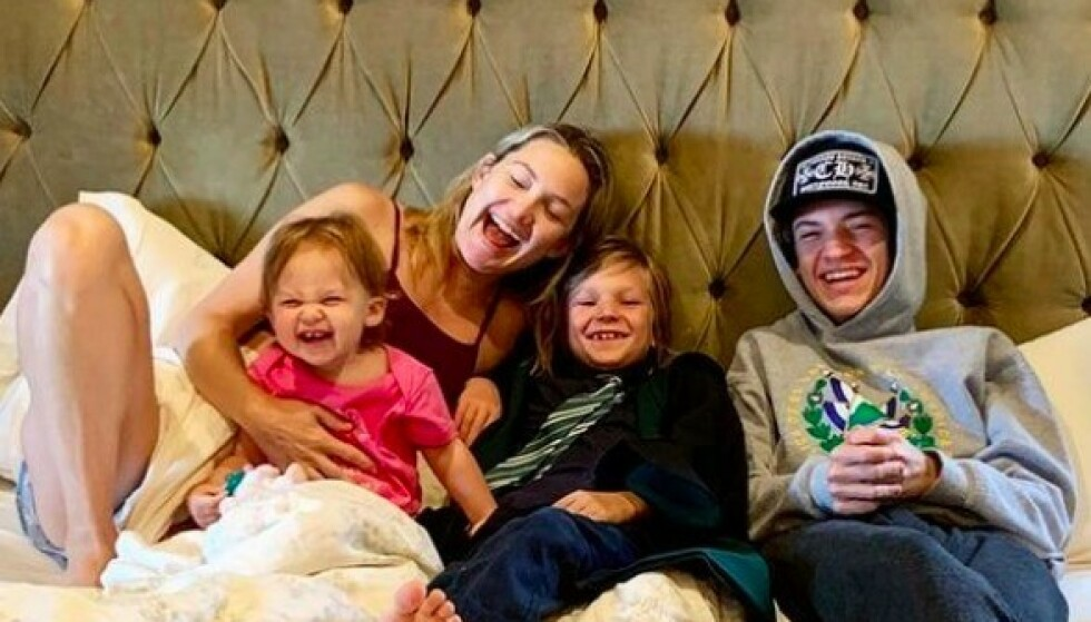 BLID GJENG: Her er Kate Hudson med sine tre skjønne barn (f.v) Rani Rose, Bingham og Ryder. Foto: Instagram/Kate Hudson