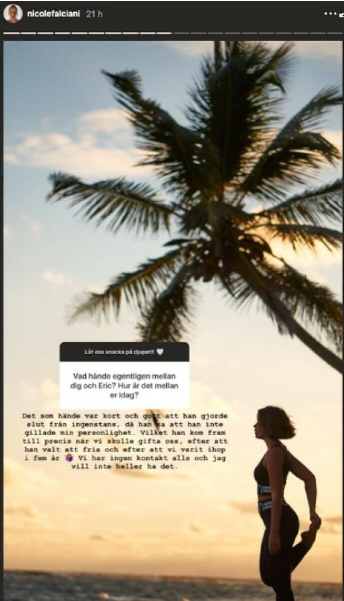 UT AV DET BLÅ: Nicole Falciani hevder at Eric Saade ikke likte personligheten hennes. Foto: Skjermdump fra Instagram