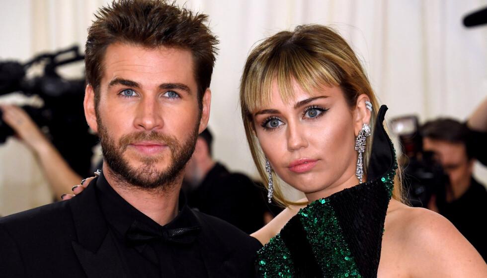 TURBULENT FORHOLD: Miley Cyrus og Liam Hemsworth kjempet lenge for kjærligheten, men klarte ikke holde sammen. Foto: NTB
