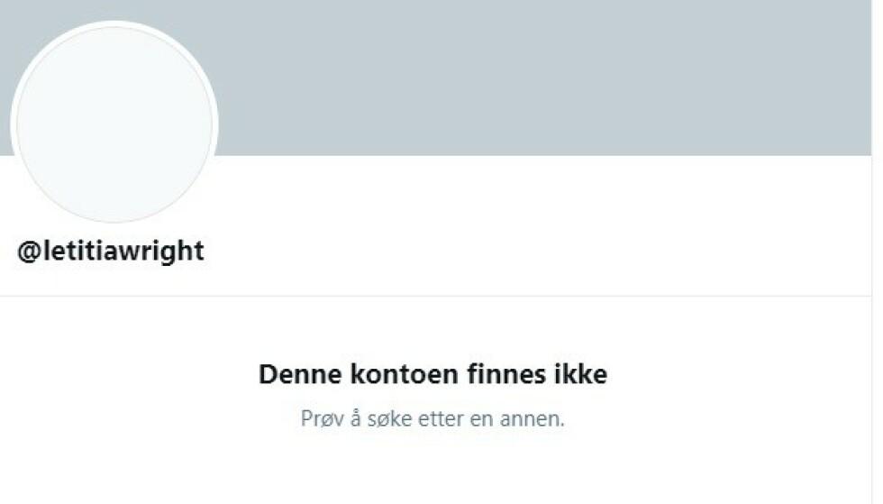 BORTE VEKK: Stjernen er borte fra både Twitter og Instagram etter kritikkstormen. Foto: Skjermdump