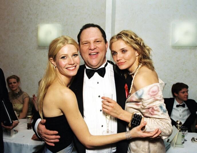 TØFF SJEF: Hollywood-stjernen hadde Harvey Weinstein som sjef i flere år. Her er hun avbildet med Weinstein og skuespiller Cameron Diaz i 1999. Foto: Alex J. Berliner / BEI / REX / NTB