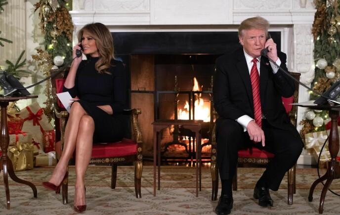 RING, RING: Melania og Donald Trump 24. desember 2018. Foto: Saul Loeb / AFP/ NTB