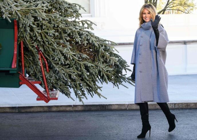 SMILTE PENT: Førstedame Melania Trump tok i mot årets juletre 23. november. Foto: Nicholas Kamm / AFP / NTB