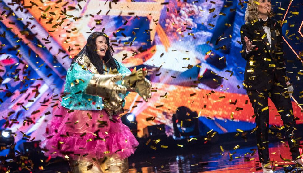 SEIER IGJEN: Ulrikke Brandstorp var Trollet, og har dermed vunnet sin andre sangkonkurranse på et år. Foto: Julia Naglestad / NRK