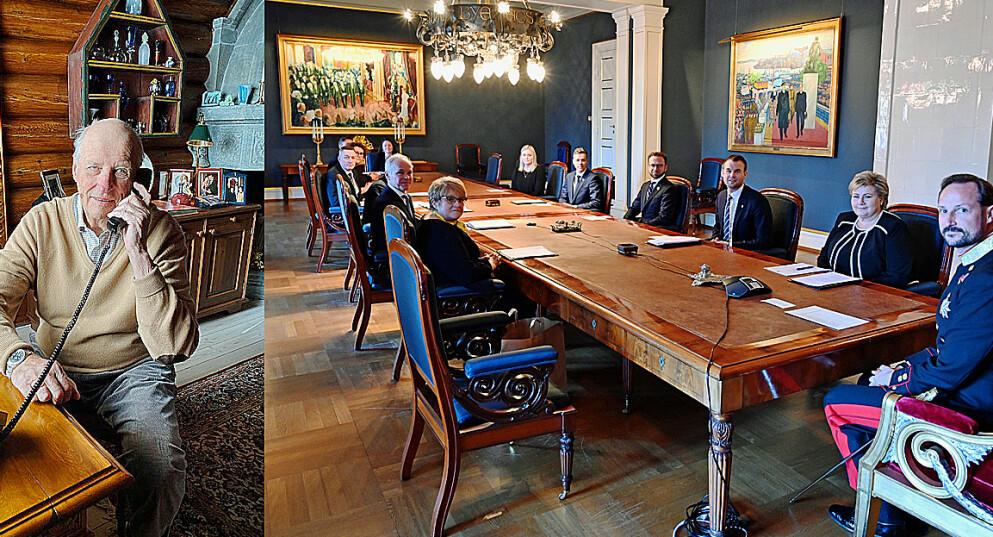 NYE BILDER: Kongehuset har delt en rekke bilder. Her holder kongen statsråd over telefon 13. mars - omtrent samtidig som landet stengte ned. Foto: H.M. Dronningen og Sven Gj. Gjeruldsen/ Det kongelige hoff