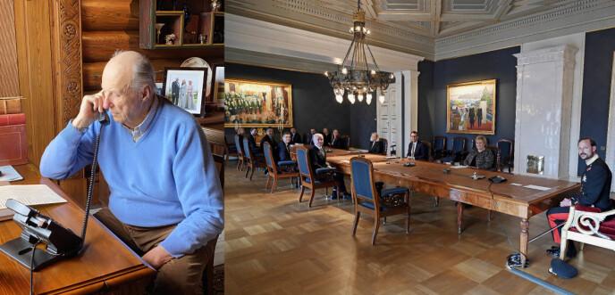 STATSRÅD: Disse bildene er fra 8. april. Foto: Foto: H.M. Dronningen og Sven Gj. Gjeruldsen/ Det kongelige hoff