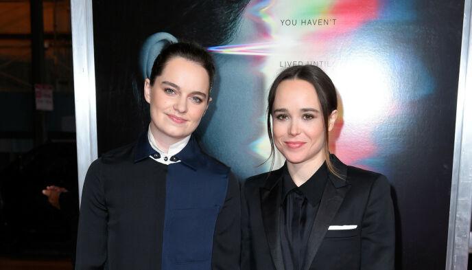 GIFT: Emma Portner og Elliot Page giftet seg i 2018. Her under en filmpremiere året før. Foto: Steward Cook / Rex / NTB