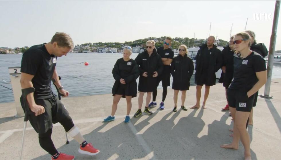 KORT TV-OPPHOLD: Øystein «Pølsa» Pettersen (37) pådro seg en skade i første episode av «Mesternes mester», som sørget for at måtte kaste inn håndkleet og forlate konkurransen. Foto: Skjermdump fra NRK