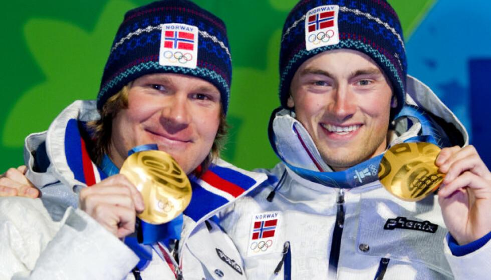 GULLGUTTER: Pettersen tok gull sammen med Petter Northug under lagsprinten i OL i 2010. Foto: NTB