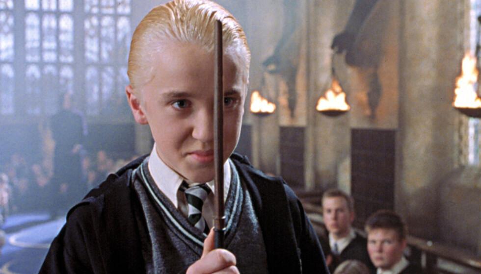 SATSET PÅ RAP-KARRIERE: Tom Felton, som spiller Draco Malfoy i «Harry Potter»-filmene, ønsket seg en helt annen karriere etter filmene. Foto: Warnes Brothers/Everett Collection/NTB
