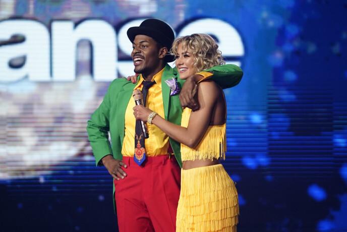 DANS: Det er slik vi er vane med å se Helene Spilling - i dans med Nate Kahungu. De sikret seg en andreplass i fjorårets «Skal vi danse». Foto: Espen Solli / TV 2