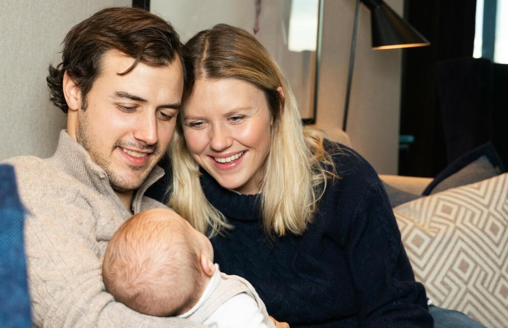 LYKKELIGE FORELDRE: Tiril Sjåstad Christiansen og Stian Lauritzen ble foreldre til datteren Vega i november i fjor. Foto: Sondre Transeth