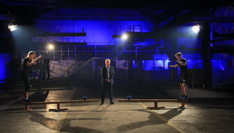 UTE: Cecilie Leganger ble fredag kveld slått ut av «Mesternes mester» etter balanseduell mot Magnus Midtbø. Foto: Sunniva Luca Veliz Pedersen, Rubicon TV/NRK