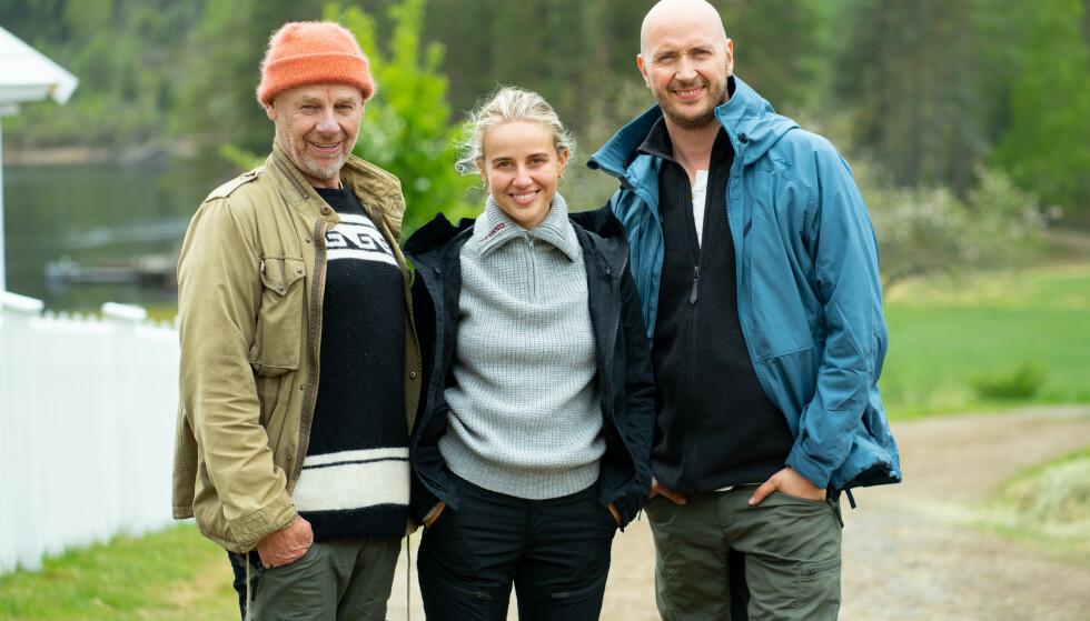 GOD STEMNING: Espen Thoresen, Anniken Jørgensen og Terje Sporsem hadde en fin tid på «Farmen kjendis». Enkelte også med promille i blodet. Foto: TV 2