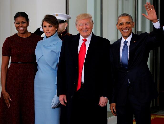 DEN GANG DA: Melania og Donald Trump flankert av det avtroppende presidentparet Michelle og Barack Obama før innsettelsesseremonien 20. januar 2017. Foto: Jonathan Ernst/ Reuters/ NTB