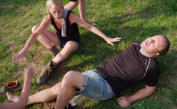 SMERTEFULLT: Svein Østvik skrek i smerte etter den dramatiske ulykken. Foto: TV 2