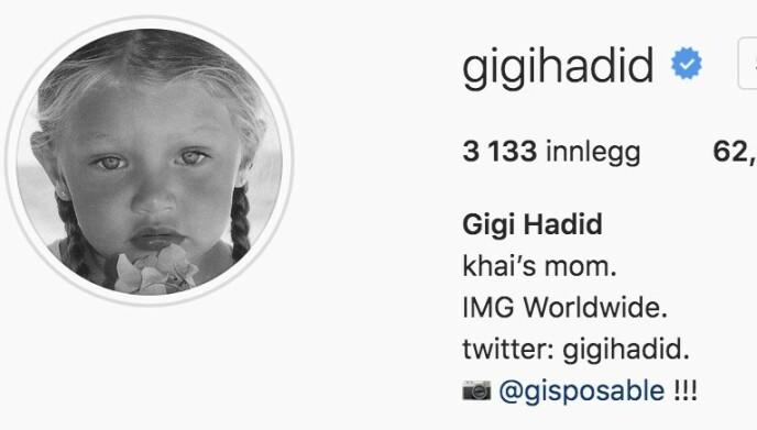 AVSLØRER BABYNAVNET: Supermodell Gigi Hadid røper navnet på datteren i profilteksten på Instagram-kontoen sin. Foto: Skjermdump fra Instagram
