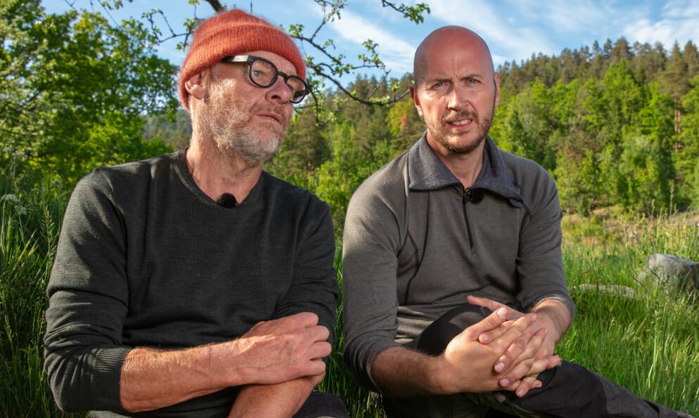 GODE VENNER: Espen Thoresen og Terje Sporsem kjenner hverandre godt fra utsida, og tvekampen ble derfor ekstra tung. Foto: Alex Iversen/TV 2