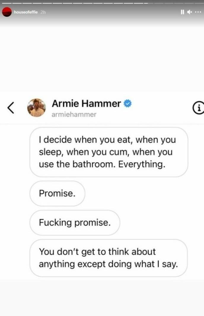 BESTEMT: Slik lyder noen av meldingene som skal ha blitt sendt fra skuespillerens bruker. Foto: Skjermdump fra Instagram