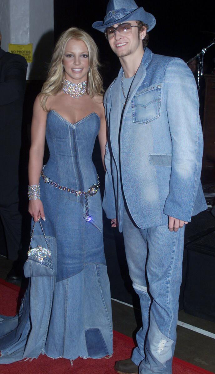 UFORGLEMMELIG: I januar for 20 år siden stilte Britney Spears og Justin Timberlake opp i matchende denim-antrekk på den røde løperen under American Music Awards. Foto: REUTERS/Rose Prouser/NTB.