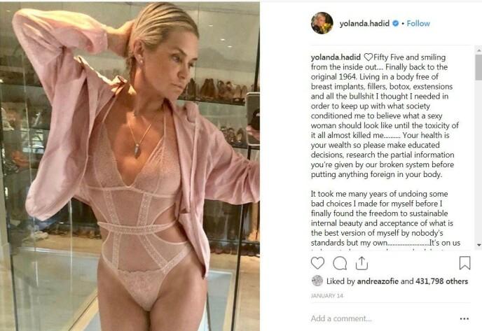 SKAPTE REAKSJONER: Dette bildet delte Yolanda Hadid med følgerne sine på Instagram. Det resulterte i at hun ble nødt til å forsvare barna sine mot spekulasjoner om plastisk kirurgi. Foto: Instagram/yolanda.hadid