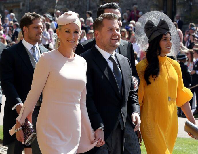 GJESTER: James Corden og kona Julia Carey var en av mange kjendisgjester i prins Harry og hertuginne Meghans bryllup. Foto: Chris Radburn / AFP PHOTO / POOL / NTB