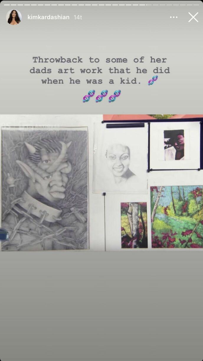 KANYES VERK: Disse bildene er laget av Kanye, og er et tydelig bevis på hvor Norths talent stammer fra. Foto: Instagram / Kim Kardashian