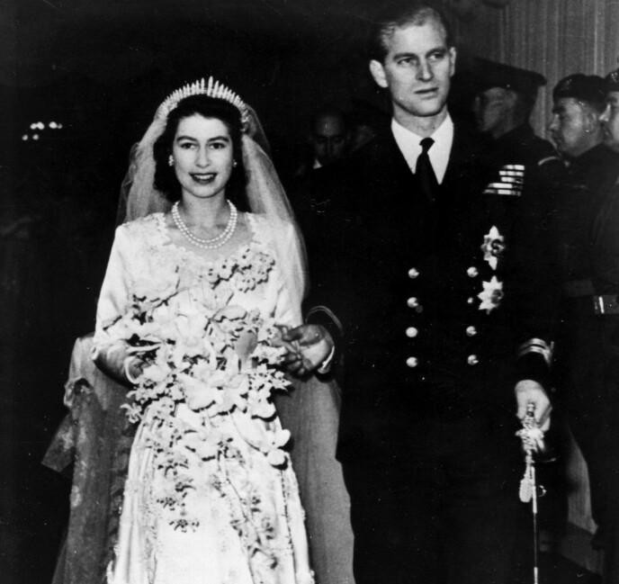 KONGELIG BRYLLUP: Dronning Elizabeth og prins Philip ga hverandre sitt ja 20. november 1947. Foto: NTB