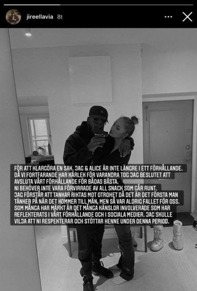 SLUTT: Slik bekrefter rapperen at det er slutt. Foto: Skjermdump fra Instagram